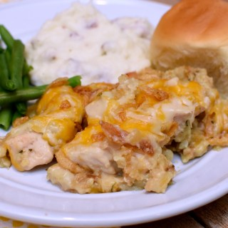 This chicken stuffing casserole tastes like Thanksgiving dinner in a casserole! #casserole #casserolerecipes #recipe #chickencasserole #awonderfulthought