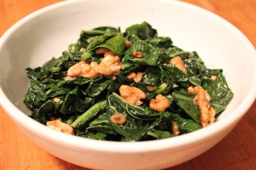 Occupy Walnuts (featuring Kale with Sauteed Walnuts and Mixed Baby Greens with Warm Fennel Dressing)