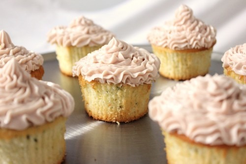 Lemon Thyme Cupcakes with Raspberry Buttercream