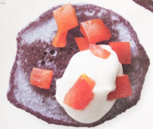 Blue Corn Blinis with help from photoshop or food coloring (a la In Style Mag)