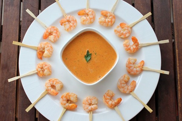 A Wonderland of Television Guests?  (featuring Shrimp Skewers with Roasted Red Pepper Rouille)