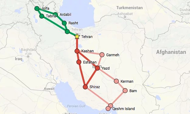 Backpacking_im_IRAN_routes