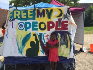 Tents are set up & people gather at #FreedomSquare Occupation in Chicago. July, 2016.