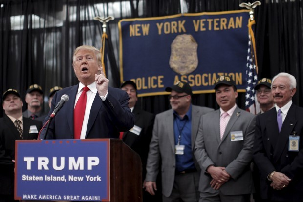 U.S. Republican presidential candidate Donald Trump speaks to the press after receiving an endorsement from the New York Veteran Police Association in the borough of Staten Island in New York City, April 17, 2016. (Brendan McDermid/Reuters)