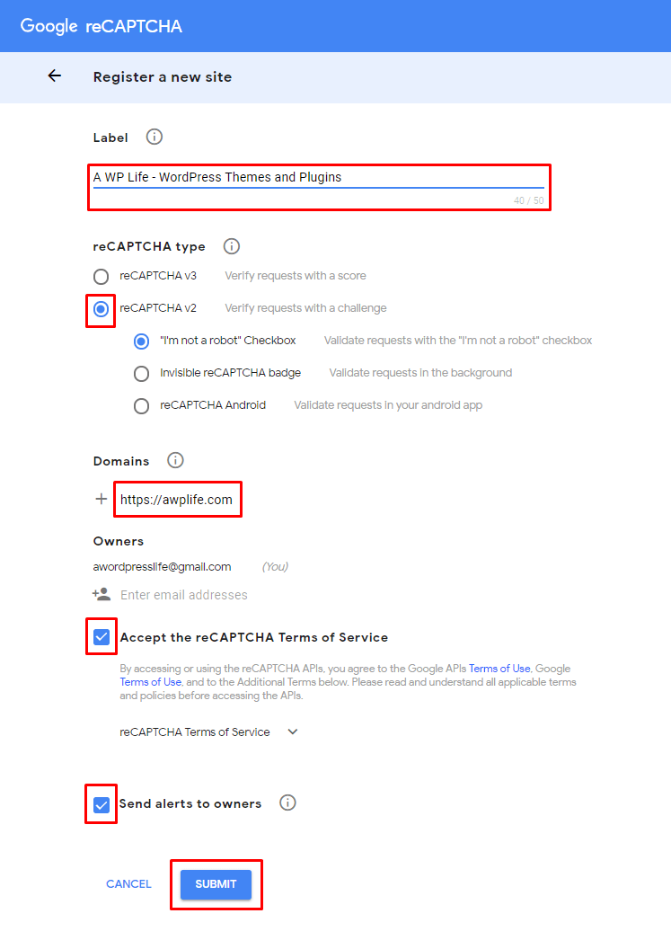 Google reCaptcha Register A New Website - A WP Life