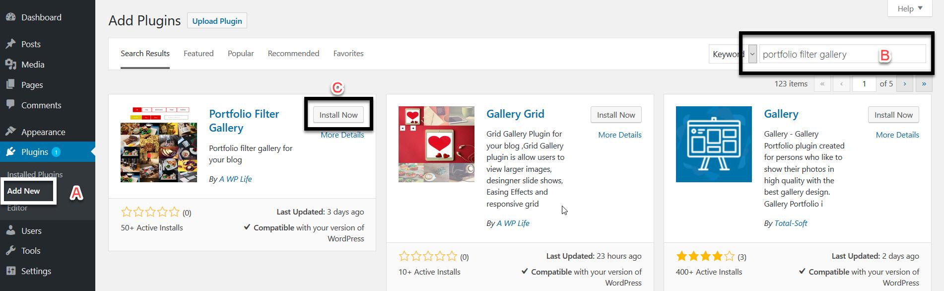 Portfolio Filter Gallery Plugin Download & Installation