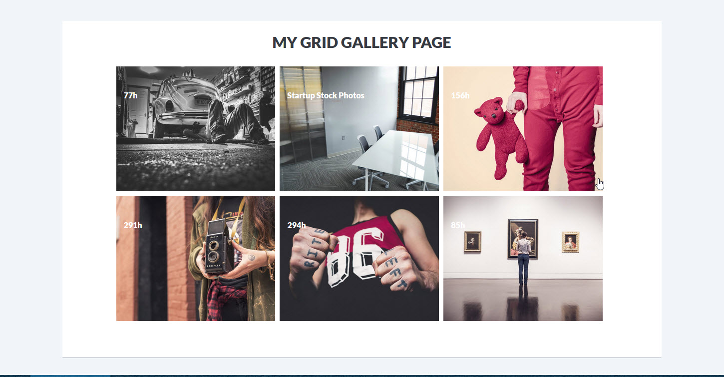 Grid Gallery Page Preview