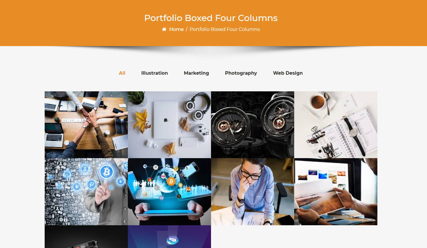Crypto Premium WordPress Theme For Cryptocurrency Business and Blog Websites - A WP Life - Portfolio Boxed Four Column Layout Template