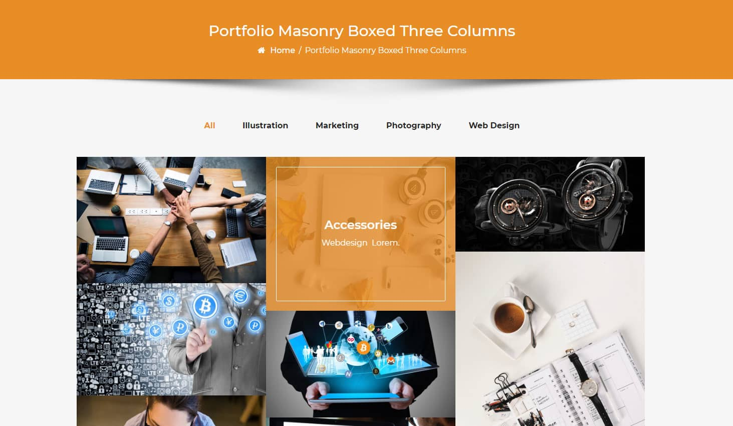 Crypto Premium WordPress Theme For Cryptocurrency Business and Blog Websites - A WP Life - Portfolio Masonry Boxed Three Column Layout Template