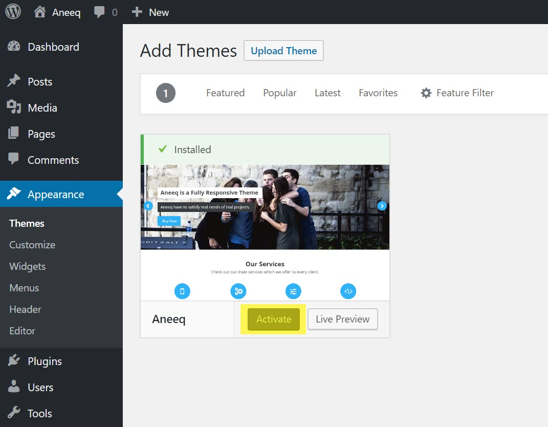 aneeq-wordpress-theme-activate