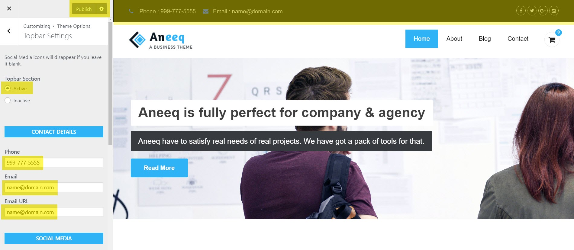 aneeq-wordpress-theme-homepage-topbar-set-up
