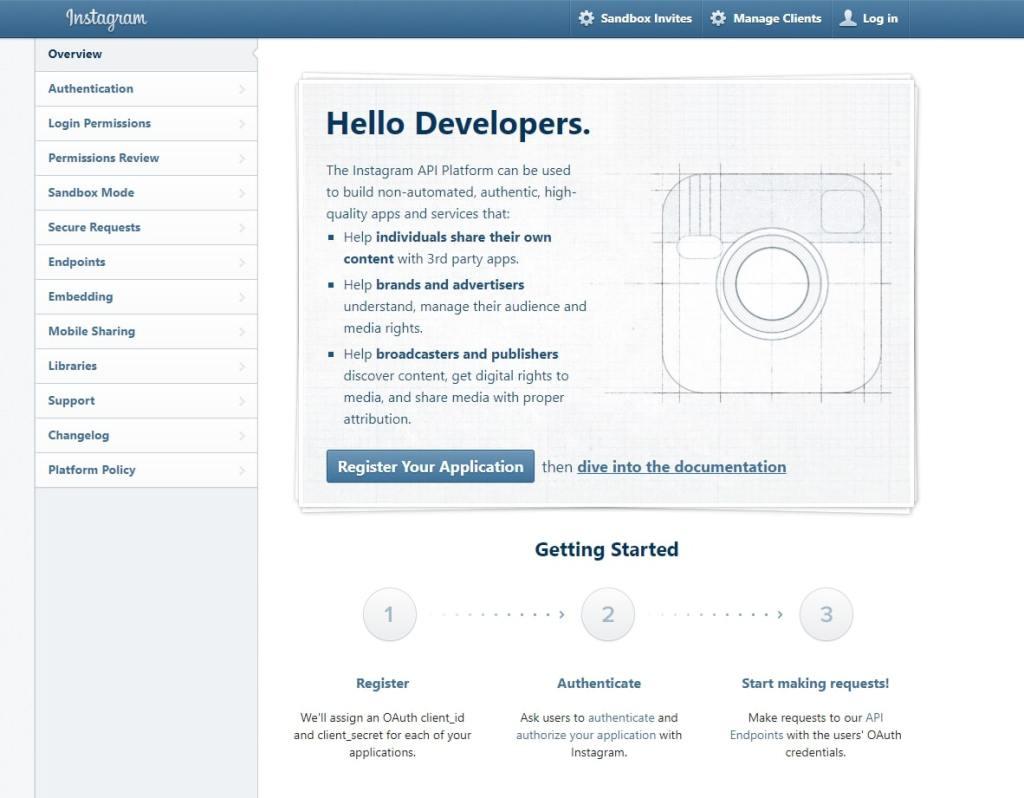 Instagram Register as developer