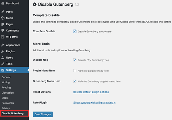 Use the Classic Editor with Disable Gutenberg Plugin