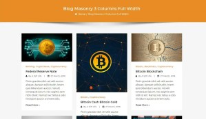 Crypto Premium WordPress Theme For Cryptocurrency Business and Blog Websites - A WP Life - Blog Masonry Three Column Layout Template