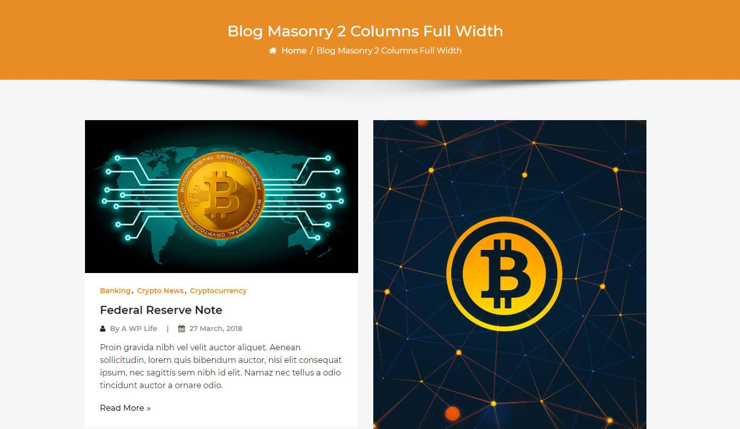 Crypto Premium WordPress Theme For Cryptocurrency Business and Blog Websites - A WP Life - Blog Masonry Two Column Layout Template