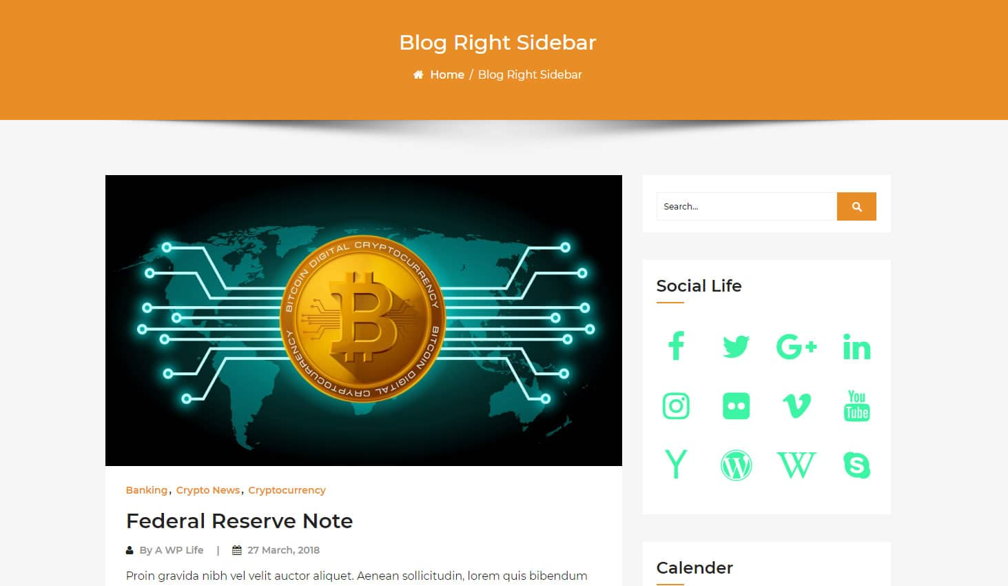 Crypto Premium WordPress Theme For Cryptocurrency Business and Blog Websites - A WP Life - Blog Right Sidebar Template