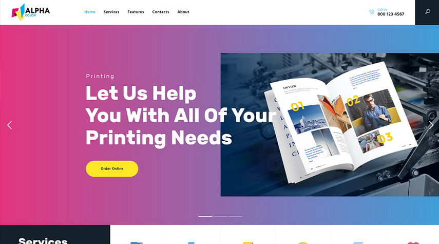 AlphaColor Type Design & Printing Services WordPress Theme
