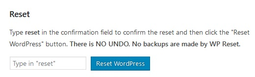 Complete WordPRess Reset Button