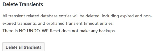 Partial WP reset delete transients