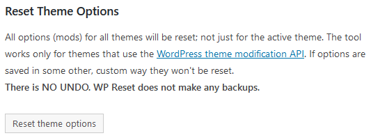 reset theme options