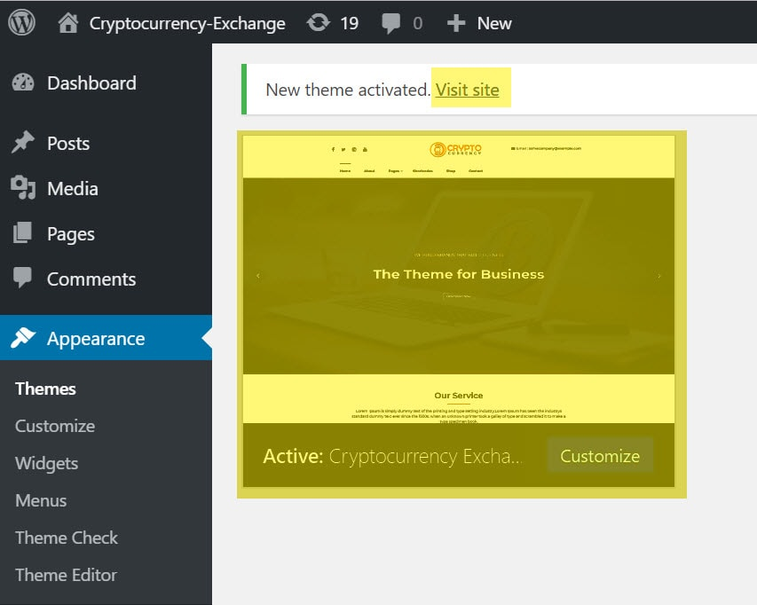 cryptocurrency theme is activated