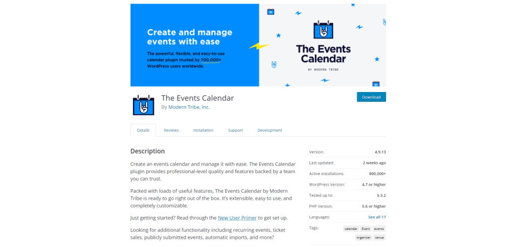4. The Events Calendar