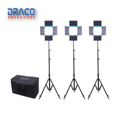 Dracast LED500 S-Series Daylight 3 Light Kit with V-Mount Battery Plates and Soft Case Kit Lights Draco Broadcast