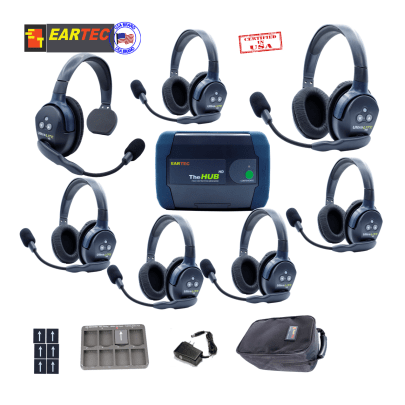 Eartec Hub716 Ultralite HD & Hub 7Users W/1 Single & 6 Double Headset Communications & IFB Eartec