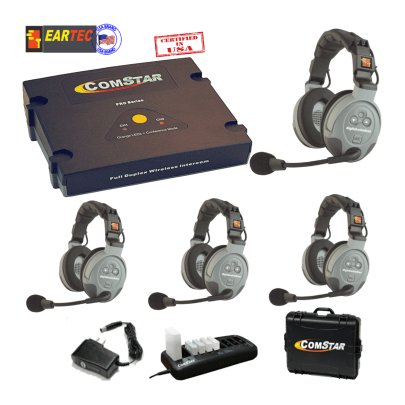 Eartec Comstar Xt44d-Eu 4/Pers Full Duplex System All In One Headset Intercom Systems Eartec