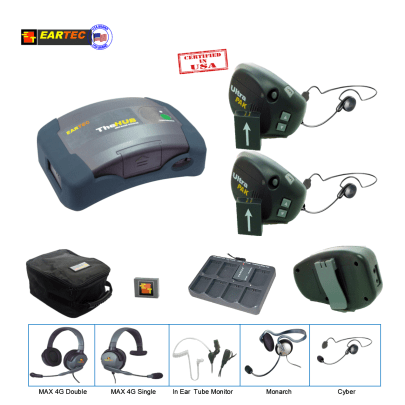 Eartec UPCYB2 UltraPAK 2-Person HUB Intercom System with Cyber Headset Intercom Systems Eartec