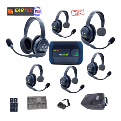 Eartec Hub651 Ultralite HD & Hub 6Users W/5 Single & 1 Double Intercom Systems Eartec