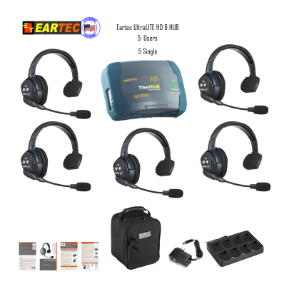 Eartec  Hub5S Ultralite & Hub HD 5 Users 5 Single  Headset Intercom Systems Eartec