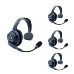 Eartec  Ultralite HD 4 Person System W/ 4 Single Headsets, Batteries, Charger & Case Wireless Intercom [tag]