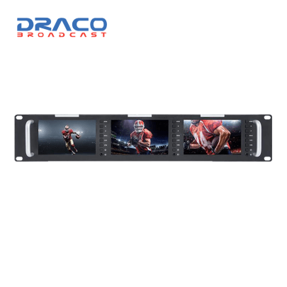 Laizeske Triple 5″ 2RU 800 x 480 Broadcast LCD Rack Mount Monitor with 3G-SDI & HDMI AV Input/Output uncategorized Draco Broadcast