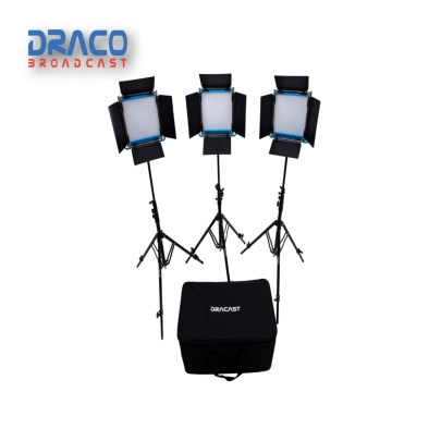 Dracast S-Series Led500 Bi-Color 3 Light Kit With V-Mount Battery Plates And Soft Case Kit Lights Draco Broadcast