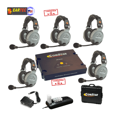 Eartec Comstar XT55D  5/Pers Full Duplex System All In One Headset Intercom Systems Eartec