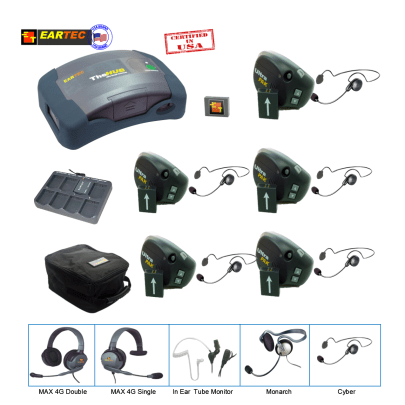 Eartec  UPCYB5 UltraPAk & Hub 5 Pers W/ 5 Cyber Headset Intercom Systems Eartec