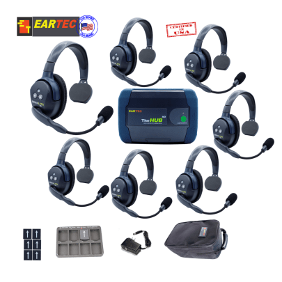 Eartec Hub7S Ultralite HD & Hub 7Users W/ 7 Single Headsets Intercom Systems Eartec