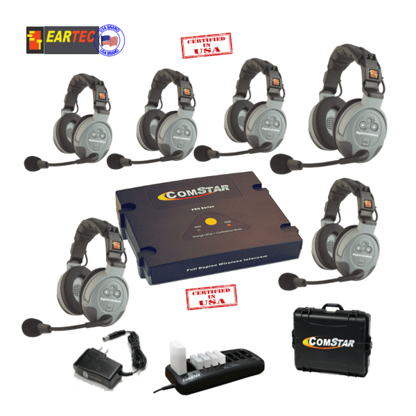 Eartec Comstar XT66D 6/Pers Full Duplex System All In One Headset Intercom Systems Eartec