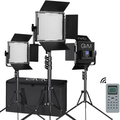 GVM 672S-B Bi-Color LED Video 3-Light Kit (Black) Continuous Lighting GVM