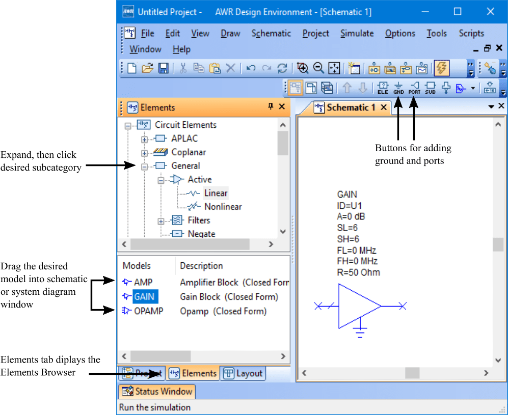 hight resolution of note choose draw more elements to display the add circuit element or add system block dialog box to search for elements
