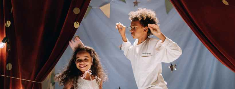 brother and sister performing