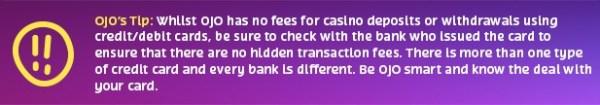ojo tip Credit/Debit Cards