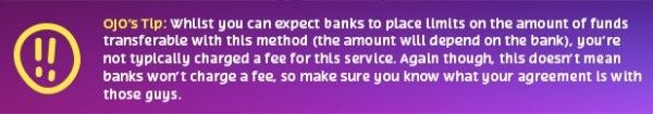 bank transfers tip
