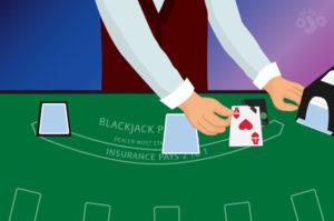 dealer dengan Ace up, mengintip kartu kedua mereka dengan menggunakan alat intip