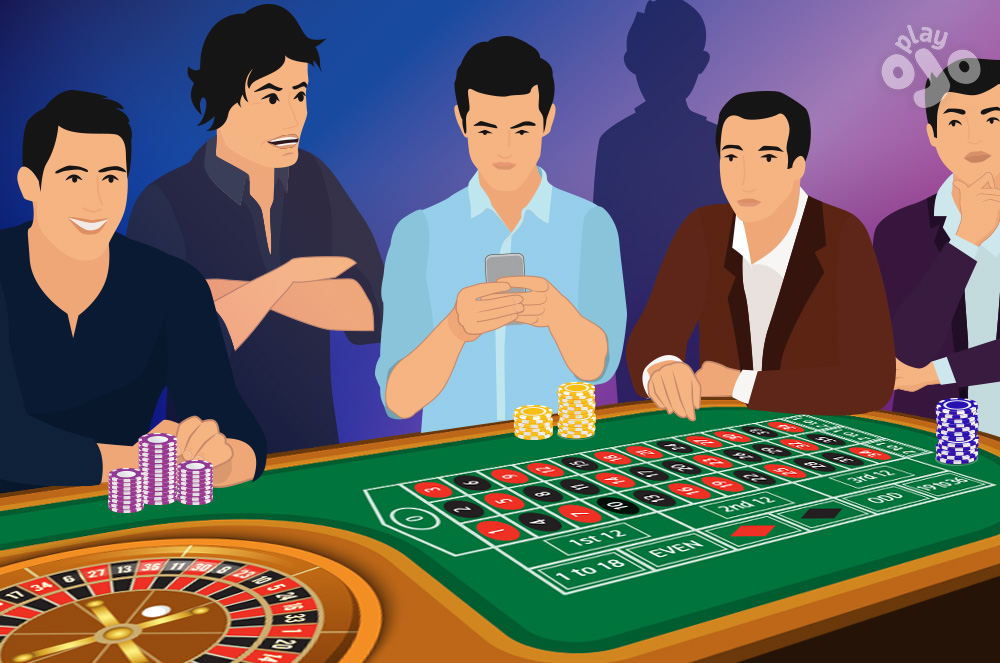 Show 2 players at the table, one with chips in front of them, 1 with no chips and looking at their phone, and a 3rd player behind them with angry look on their face