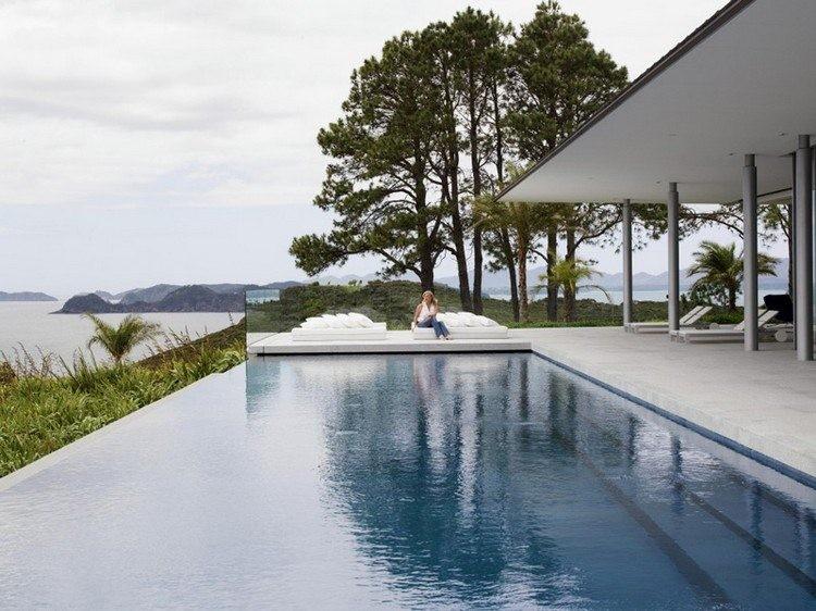 piscine debordement terrasse paroi