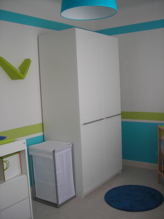 Chambre vert anis bleu turquoise