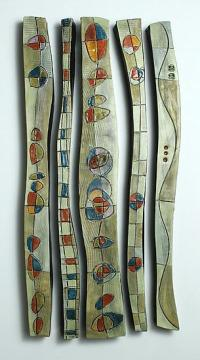 Abstract Time Relief Jewel Columns by Janine Sopp (Ceramic ...