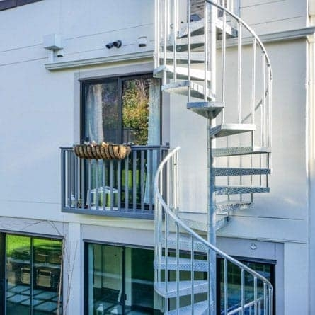 Spiral Staircases For Decks Patios Paragon Stairs | Spiral Staircase For Outside Deck | Iron | Custom | Double Spiral | Railing | Portable Rectangular Concrete